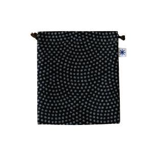 巾着中(鮫小紋柄)日本製 綿100% ジャカード織 米沢織 米織 小紋柄 和柄 お化粧ポーチ 小物入れ デジカメ 音楽プレイヤー 充電器 メンズ|yozando-y