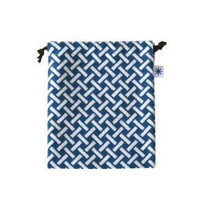 巾着中(網代柄)日本製 綿100% ジャカード織 米沢織 米織 小紋柄 和柄 お化粧ポーチ 小物入れ デジカメ 音楽プレイヤー 充電器 竹|yozando-y