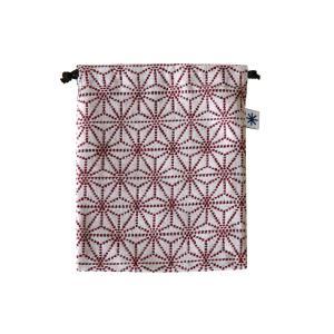 巾着中(麻の葉柄)日本製 綿100% ジャカード織 米沢織 米織 小紋柄 和柄 お化粧ポーチ 小物入れ デジカメ 音楽プレイヤー 充電器 子育て 産着|yozando-y