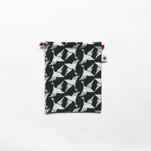 巾着中(限定柄)日本製 綿100% ジャカード 米沢 小紋 和 小物入れ デジカメ 音楽プレイヤー 充電器 秋限定 もみじ 紅葉|yozando-y