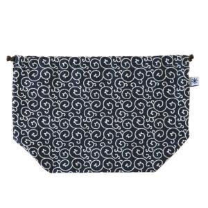 マチ付き巾着(唐草柄)日本製 綿100% ジャカード織 米沢織 米織 小紋柄 お弁当袋 お着物 浴衣 和柄|yozando-y