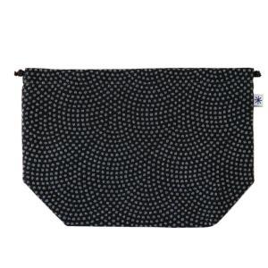 マチ付き巾着(鮫小紋柄)日本製 綿100% ジャカード織 米沢織 米織 小紋柄 お弁当袋 お着物 浴衣 和柄 メンズ|yozando-y