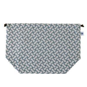 マチ付き巾着(分銅つなぎ柄)日本製 綿100% ジャカード織 米沢織 米織 小紋柄 お弁当袋 お着物 浴衣 和柄 宝尽くし|yozando-y