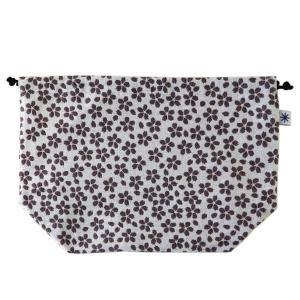 マチ付き巾着(桜柄)日本製 綿100% ジャカード織 米沢織 米織 小紋柄 お弁当袋 お着物 浴衣 和柄 春|yozando-y