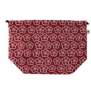 マチ付き巾着(梅柄)日本製 綿100% ジャカード織 米沢織 米織 小紋柄 お弁当袋 お着物 浴衣 和柄 松竹梅 紅白|yozando-y