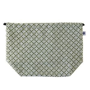 マチ付き巾着(七宝柄)日本製 綿100% ジャカード織 米沢織 米織 小紋柄 お弁当袋 お着物 浴衣 和柄|yozando-y