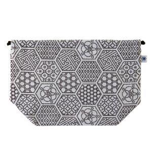 マチ付き巾着(亀甲つなぎ柄)日本製 綿100% ジャカード織 米沢織 米織 小紋柄 お弁当袋 お着物 浴衣 和柄 幾何学 亀|yozando-y