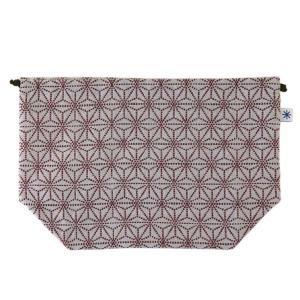マチ付き巾着(麻の葉柄)日本製 綿100% ジャカード織 米沢織 米織 小紋柄 お弁当袋 お着物 浴衣 和柄 産着 肌着 子育て|yozando-y