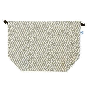 マチ付き巾着(紗綾形柄)日本製 綿100% ジャカード織 米沢織 米織 小紋柄 お弁当袋 お着物 浴衣 和柄  慶事礼装|yozando-y