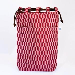 信玄袋(矢羽根柄)日本製 綿100% ジャカード織 伝統 米沢織 米織 小紋柄 和柄 和装 お着物 作務衣 iPad|yozando-y