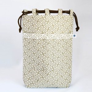 信玄袋(紗綾形柄)日本製 綿100% ジャカード織 伝統 米沢織 米織 小紋柄 和柄 和装 お着物 作務衣 iPad 慶事礼装|yozando-y