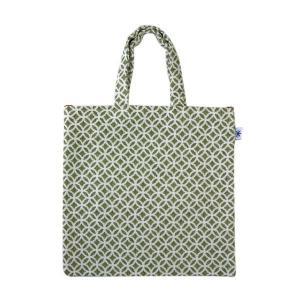 フラットバッグ(七宝柄)日本製 綿100% ジャカード織 伝統 米沢織 米織 小紋柄 和柄 ワンマイル バッグインバッグ|yozando-y