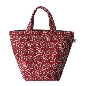 ランチバッグ(梅柄)日本製 綿100% ジャカード織 伝統 米沢織 米織 小紋柄 和柄 お弁当 ミニトート 松竹梅 紅白|yozando-y