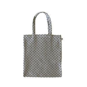 A4 フラットバッグ(分銅つなぎ柄)日本製 綿100% ジャカード織 伝統 米沢織 米織 小紋柄 和柄 書類 雑誌 宝尽くし|yozando-y