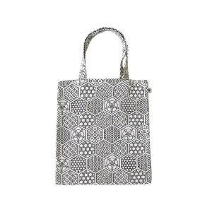 A4 フラットバッグ(亀甲つなぎ柄)日本製 綿100% ジャカード織 伝統 米沢織 米織 小紋柄 和柄 書類 雑誌 幾何学 亀|yozando-y