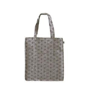 A4 フラットバッグ(麻の葉柄)日本製 綿100% ジャカード織 伝統 米沢織 米織 小紋柄 和柄 書類 雑誌 産着 肌着 子育て|yozando-y