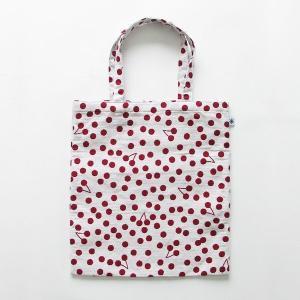 A4 フラットバッグ(山形限定さくらんぼ)日本製 綿100% ジャカード織 米沢織 米織小紋 和 書類 手提げ ドット 水玉 桜桃|yozando-y