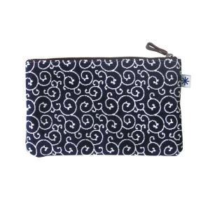 ポーチ(唐草柄)日本製 綿100% ジャカード織 伝統 米沢織 米織 小紋柄 和柄 通帳ケース パスポートケース メイクポーチ|yozando-y