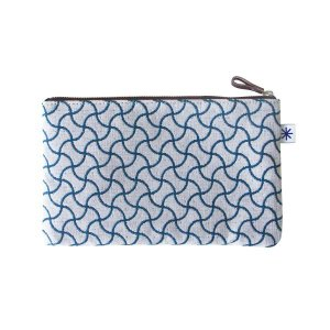 ポーチ(分銅つなぎ柄)日本製 綿100% ジャカード織 伝統 米沢織 米織 小紋柄 和柄 通帳ケース パスポートケース メイクポーチ 宝尽くし|yozando-y