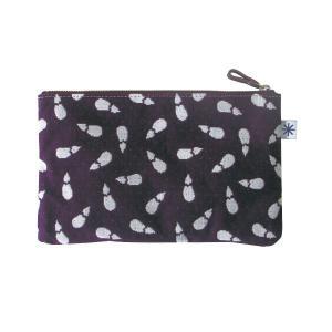 ポーチ(茄子柄)日本製 綿100% ジャカード織 伝統 米沢織 米織 小紋柄 和柄 通帳ケース パスポートケース メイクポーチ 富士 鷹|yozando-y