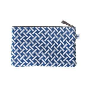 ポーチ(網代柄)日本製 綿100% ジャカード織 伝統 米沢織 米織 小紋柄 和柄 通帳ケース パスポートケース メイクポーチ 竹|yozando-y