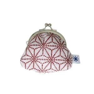 丸柄がま口(麻の葉柄・ポジ)日本製 綿100% ジャカード織 伝統 米沢織 米織 小紋柄 和柄 財布 小銭入れ アクセサリーケース お薬入れ 子育て|yozando-y