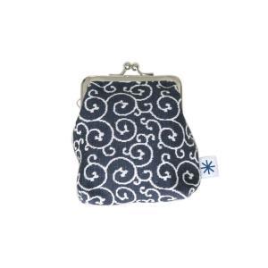 角型がま口(唐草柄・ポジ)日本製 綿100% ジャカード織 伝統 米沢織 米織 小紋柄 和柄 財布 小物入れ カードケース ポイントカード|yozando-y