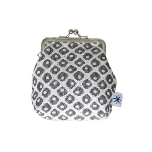 角型がま口(鹿の子柄・ポジ)日本製 綿100% ジャカード織 伝統 米沢織 米織 小紋柄 和柄 財布 小物入れ カードケース ポイントカード モダン|yozando-y