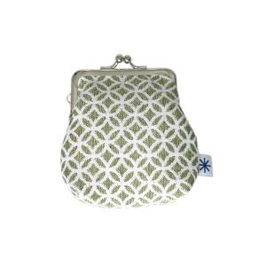 角型がま口(七宝柄・ポジ)日本製 綿100% ジャカード織 伝統 米沢織 米織 小紋柄 和柄 財布 小物入れ カードケース ポイントカード|yozando-y