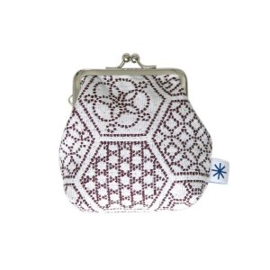角型がま口(亀甲つなぎ柄・ポジ)日本製 綿100% ジャカード織 伝統 米沢織 米織 小紋柄 和柄 財布 小物入れ カードケース ポイントカード|yozando-y