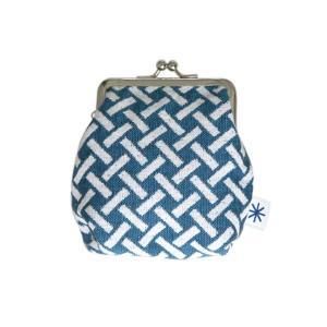 角型がま口(網代柄・ポジ)日本製 綿100% ジャカード織 伝統 米沢織 米織 小紋柄 和柄 財布 小物入れ カードケース ポイントカード 竹|yozando-y