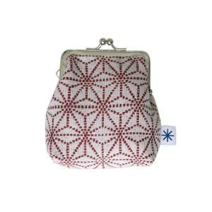 角型がま口(麻の葉柄・ポジ)日本製 綿100% ジャカード織 伝統 米沢織 米織 小紋柄 和柄 財布 小物入れ カードケース ポイントカード 子育て|yozando-y