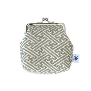 角型がま口(紗綾形柄)日本製 綿100% ジャカード織 伝統 米沢織 米織 小紋柄 和柄 財布 小物入れ カードケース ポイントカード 慶事礼装|yozando-y