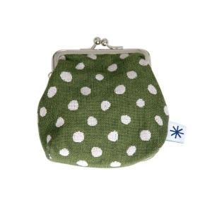 角型がま口(豆絞り柄・ネガ)日本製 綿100% ジャカード織 伝統 米沢織 米織 小紋柄 和柄 財布 小物入れ カードケース ポイントカード ドット|yozando-y