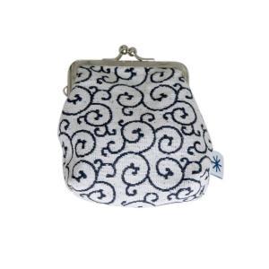 角型がま口(唐草柄・ネガ)日本製 綿100% ジャカード織 伝統 米沢織 米織 小紋柄 和柄 財布 小物入れ カードケース ポイントカード|yozando-y