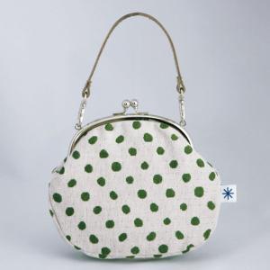 がま口ポーチ(豆絞り柄)日本製 綿100% ジャカード織 伝統 米沢織 米織 小紋柄 和柄 和装 お着物 財布 お化粧ポーチ 携帯 スマホ ドット|yozando-y