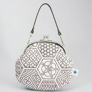 がま口ポーチ(亀甲つなぎ柄)日本製 綿100% ジャカード織 伝統 米沢織 米織 小紋柄 和柄 和装 お着物 財布 お化粧ポーチ 携帯 スマホ 幾何学|yozando-y