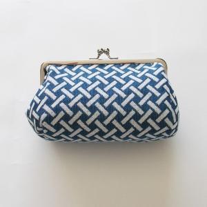 がま口ケース(網代)米織小紋 米沢 伝統 ジャカード 和 メイク ポーチ 幾何学 竹 吉祥|yozando-y