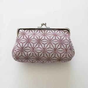 がま口ケース(麻の葉)米織小紋 米沢 伝統 ジャカード 和 メイク ポーチ 幾何学 出産祝 吉祥|yozando-y