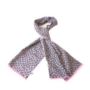 ストール W45(桜柄)日本製 綿100% ジャカード織 伝統 米沢織 米織 小紋柄 和柄 紫外線対策 日焼け UV リバーシブル|yozando-y