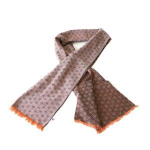 ストール W45(麻の葉柄)日本製 綿100% ジャカード織 伝統 米沢織 米織 小紋柄 和柄 紫外線対策 日焼け UV リバーシブル|yozando-y