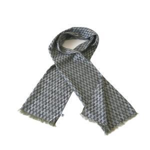 ストール W45(矢羽根柄)日本製 綿100% ジャカード織 伝統 米沢織 米織 小紋柄 和柄 紫外線対策 日焼け UV リバーシブル|yozando-y