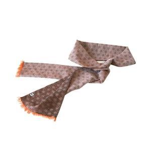 ストール W24(麻の葉柄)日本製 綿100% ジャカード織 伝統 米沢織 米織 小紋柄 和柄 紫外線対策 日焼け UV サマーストール|yozando-y