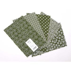 カットクロスセット(苔色)日本製 綿100% ジャカード織 伝統 米沢織 米織 小紋柄 和柄 ハンドメイド 手作り|yozando-y