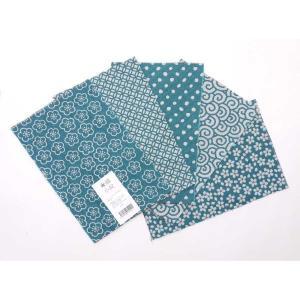 カットクロスセット(花浅葱色)日本製 綿100% ジャカード織 伝統 米沢織 米織 小紋柄 和柄 ハンドメイド 手作り|yozando-y