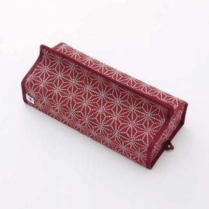 テッシュカバー(麻の葉柄)日本製 綿100% ジャカード織伝統 米沢織 米織 小紋柄 和柄 tente インテリア プレゼント 新居 産着 肌着 子育て|yozando-y