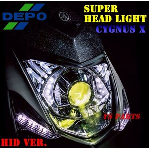 【DEPO】イエローフィルター内蔵プロジェクターHIDヘッドライトユニット スリット切替12000K 3型シグナスX SE44J専用 ys-parts-jp
