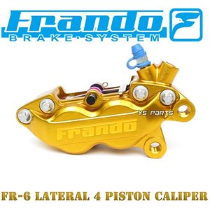 [正規品/超高品質]FRANDO 4POD鍛造ブレーキキャリパー金 右側[ブレンボ40mmピッチ形状]専用ブレーキパッド付シグナスX/NMAX125/NMAX155/YZF-R25/SRX400/SRX600等 ys-parts-jp