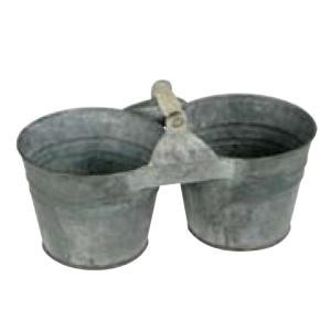 DULTON ダルトン デュアルバケット ブリキバケツ ミニバケツ 小物入れ 小物収納 鉢カバー ブリキポット ブリキ鉢 プランター 植木鉢 フラワーポット|ys-prism