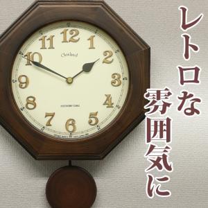 掛け時計 掛時計 掛け時計 電波時計 壁掛け時計 おしゃれ レトロ 八角形 電波 柱時計 振り子時計 木製 アンティーク調 モダン 秒針なし 音がしない|ys-prism
